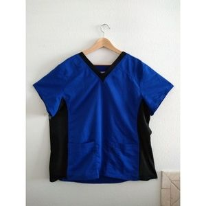 ScrubStar Two Toned Blue and Black Scrub Top